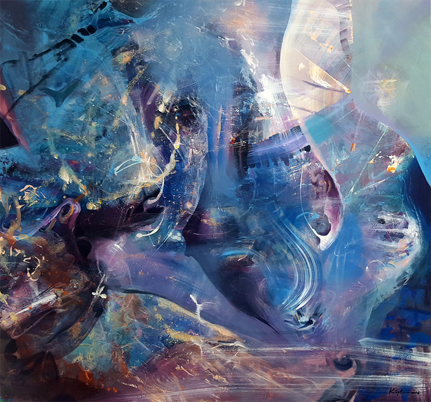 huge dreamlike mindscape oniric fantastic abstract blue painting  the wonderfull morning dream of alice series composition ii signed 2016