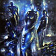 """Night balerinas giving more fashion to the night""  -  oil on canvas 36 x 60 inches / 90 x 150 c m - private collection USA"
