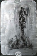 signal angel 09087 - oil on metal fixed on wooden chassis framed with glass - 8.4 x 11.6 inches (21 x 29 cm) - AVAILABLE