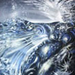 """NIGHT WOMAN DANCER IN A WATER DREAM"" - oil on canvas - 36 x 60 inches (90 x 150 cm)  - PRIVATE COLLECTION ROMANIA"